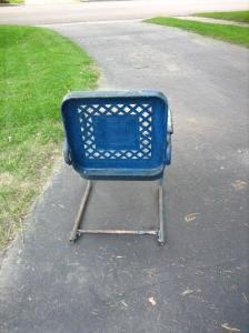 Back of metal rocking chair